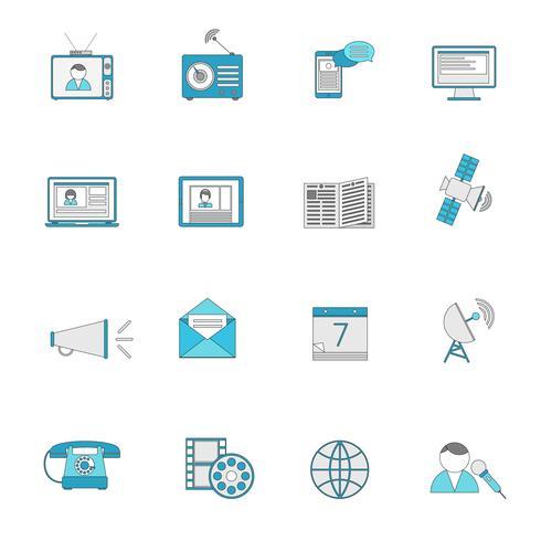 Set di icone linea piatta di media vettore