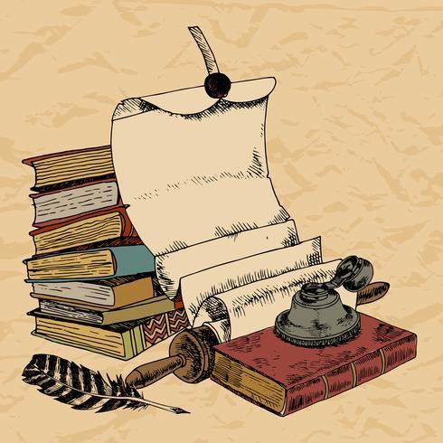 Papierrolle Feder und Bücher