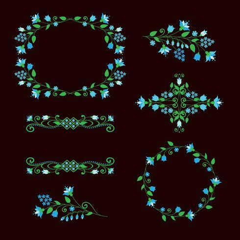 Conjunto de elementos de diseño floral, marcos ornamentales. vector
