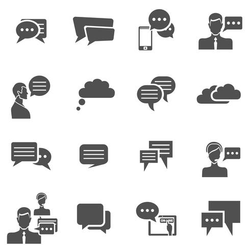 Iconos de chat negros