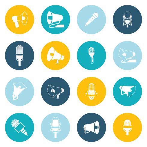 Ícones de microfone e megafone planas vetor