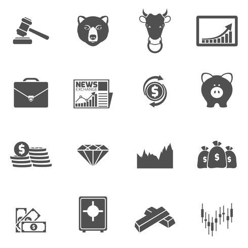 Iconos de intercambio de finanzas negro vector