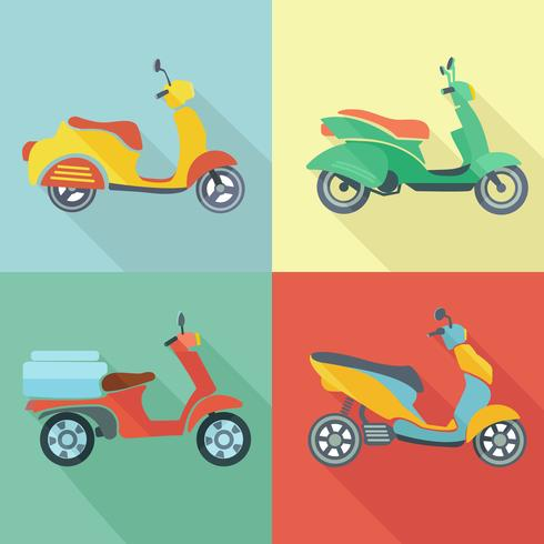 Scooter icon flat set