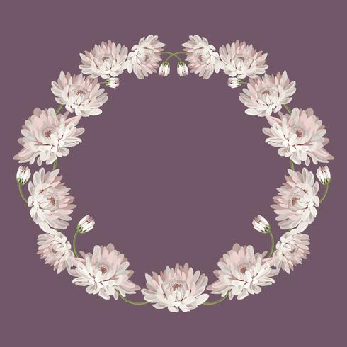Chrysanthemums. Decorative circle frame with flowers for your design. Floral card template. Vector illustration. For wedding, greeting cards, your text or photo