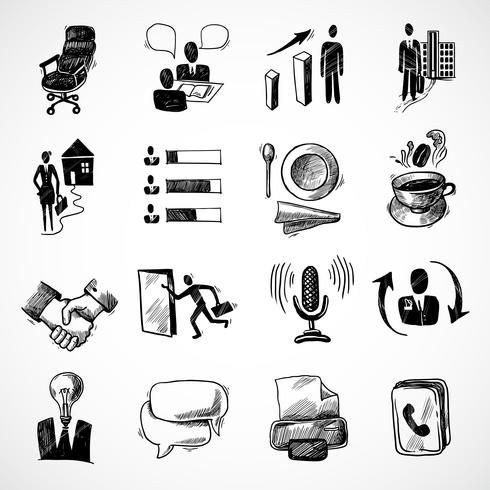 Office sketch icons set