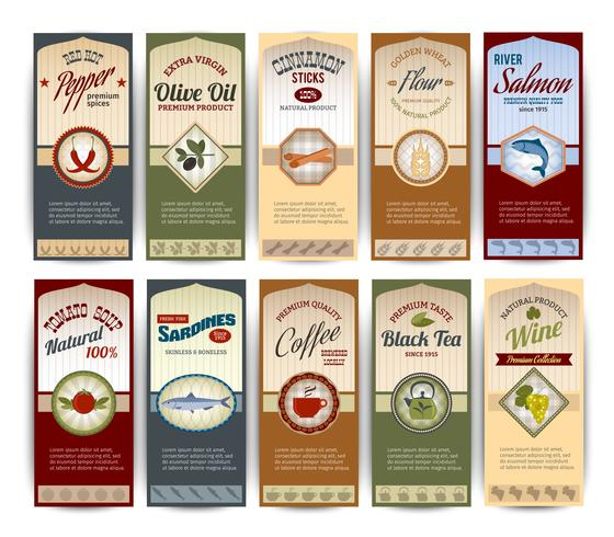 Voedsel retro banners vector
