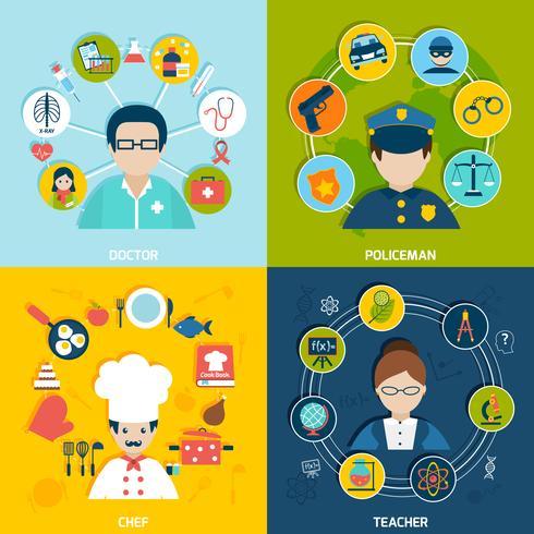 Set piatto di professioni