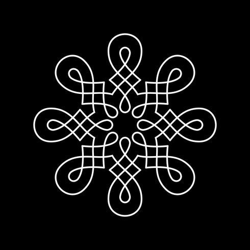 Elemento redondo del diseño aislado en fondo negro.