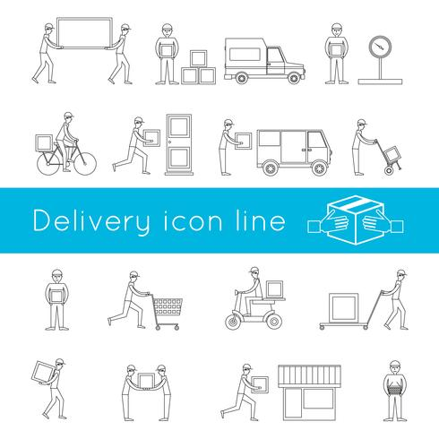 Delivery icons outline set
