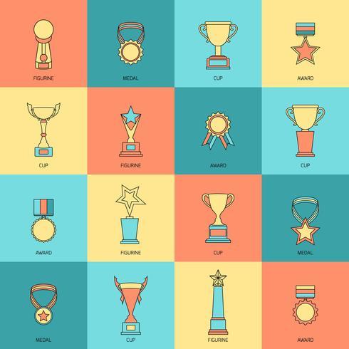 Trophy icons set flat line