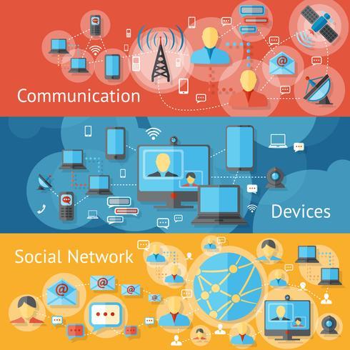 Set di banner di linea di comunicazione