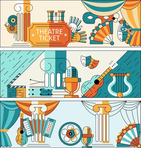 Conjunto de banner de línea plana de teatro vector