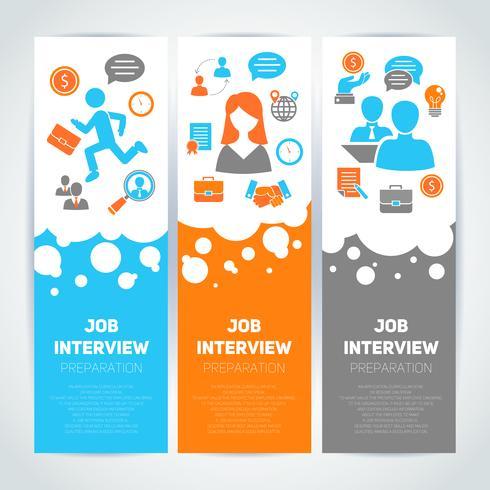 Job interview vlakke banner set vector