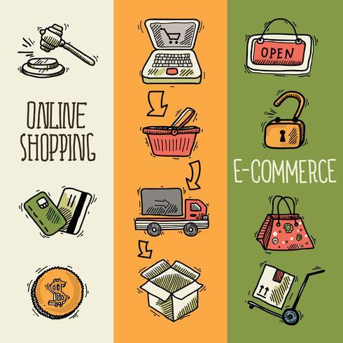 E-commerce design sketch banner vector