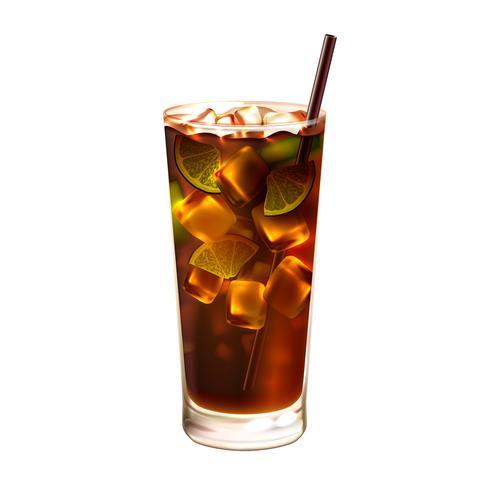 Cocktail de thé glacé Long Island réaliste vecteur