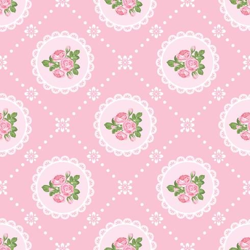 Shabby chic rose seamless pattern background vector
