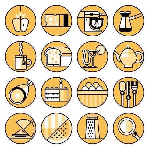 Food icons flat line set