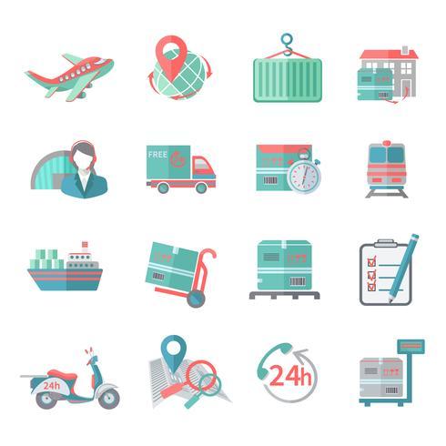 Ícones logísticos definidos planas vetor