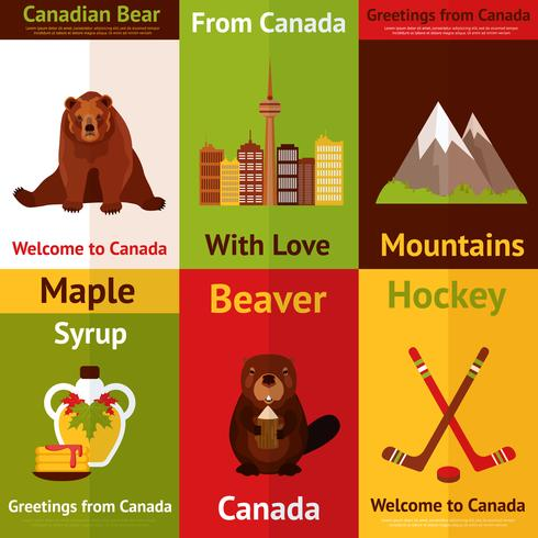 Set de mini carteles de Canada vector
