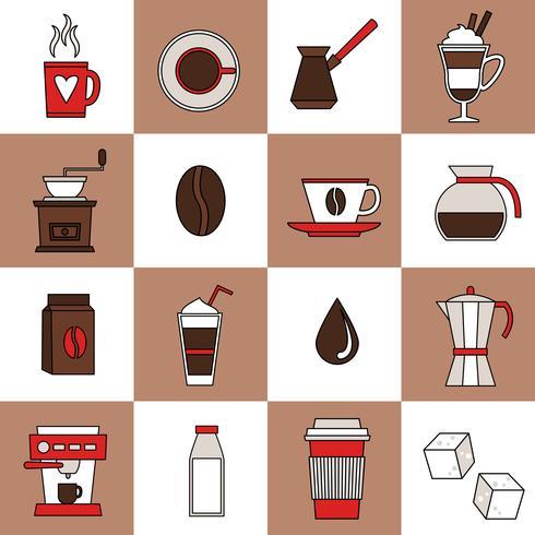 Linea piatta icone di caffè