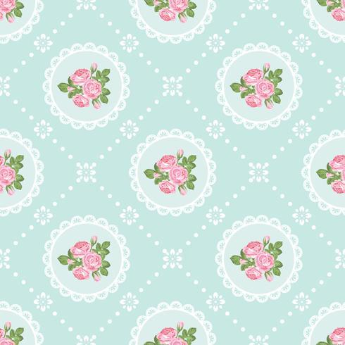 Shabby chic rosa sömlös mönster bakgrund vektor