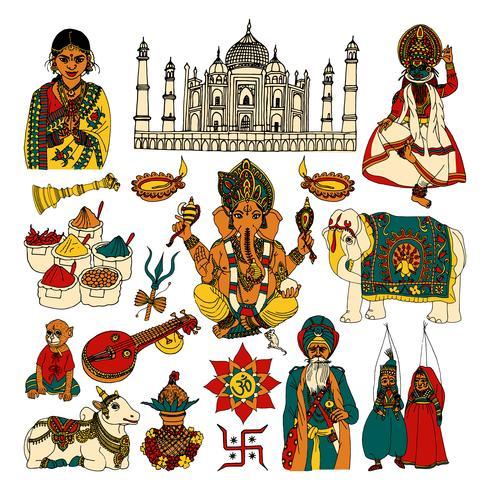 Ensemble de croquis de l'Inde vecteur