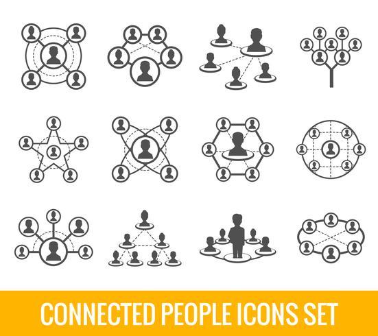 Set di icone nere persone connesse vettore