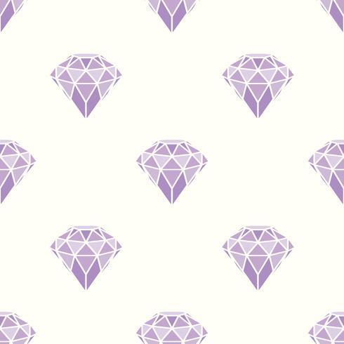 Naadloos patroon van geometrische purpere roze diamanten op witte achtergrond. Trendy hipster kristallen ontwerp. vector