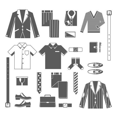 Business Man Clothes Icons Set