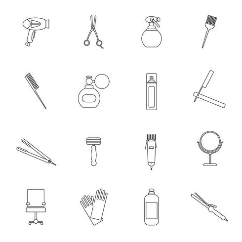 Hairdresser icon set outline vector