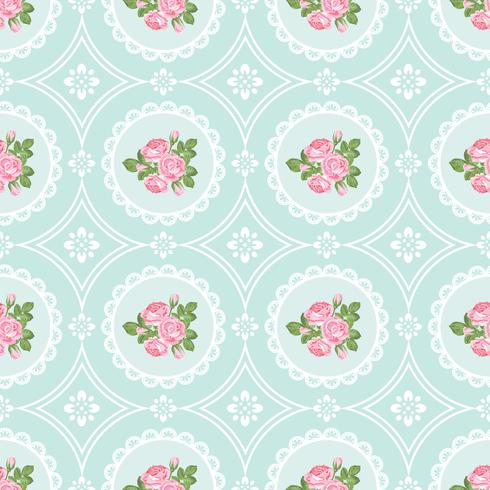 Fondo de patrones sin fisuras shabby chic rosa vector