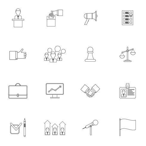 Conjunto de ícones de eleições contorno