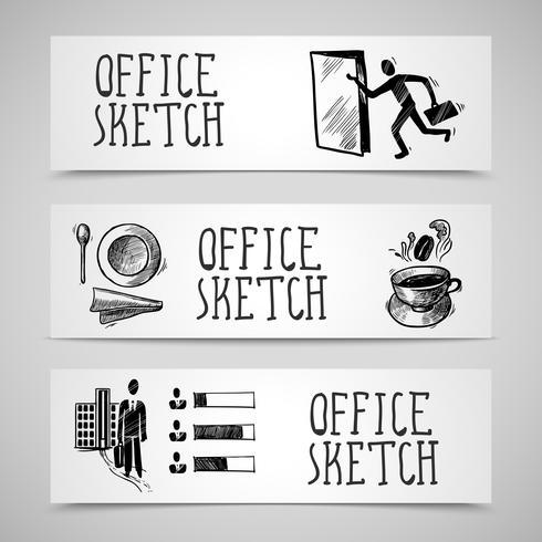 Conjunto de banners de bosquejo de oficina