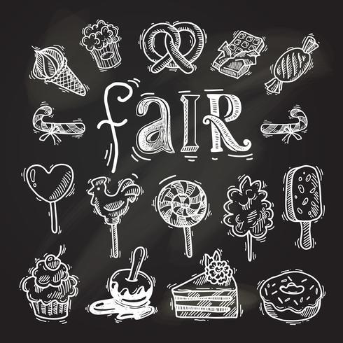 Conjunto de iconos de boceto de dulces pizarra vector
