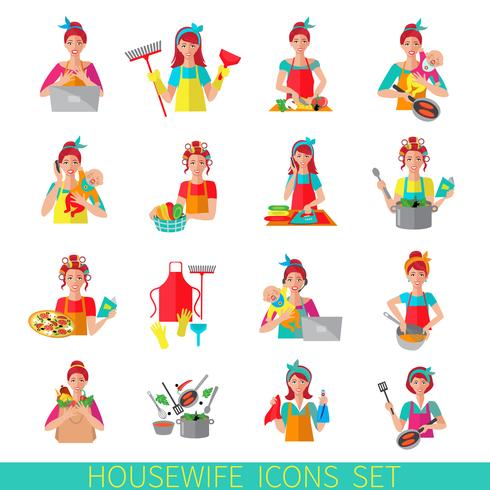 Set di icone casalinga vettore