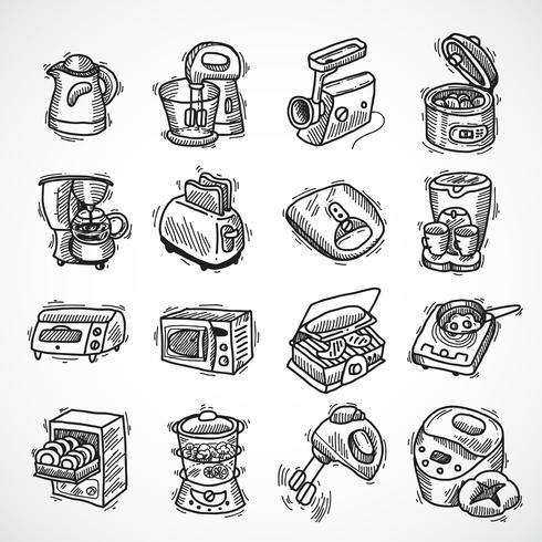 Kitchen equipment sketch vector