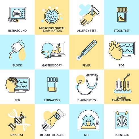 Medische tests pictogrammen platte lijn