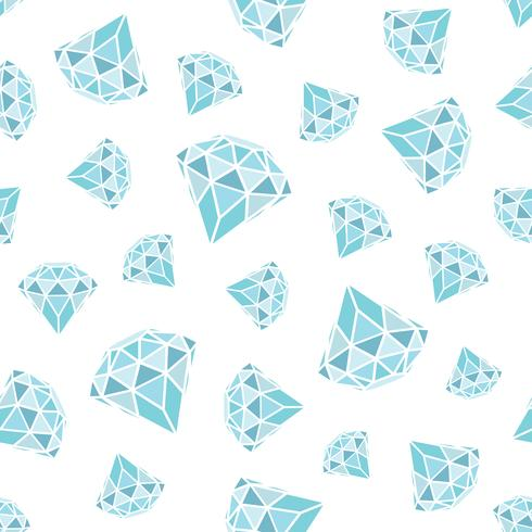 Seamless mönster av geometriska blå diamanter på vit bakgrund. Trendiga hipster kristaller design.