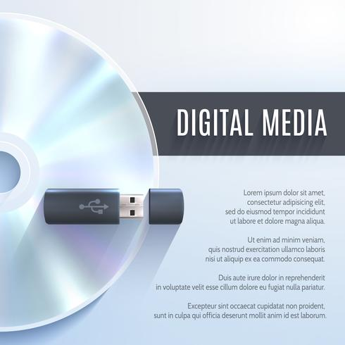 Unidad flash usb con cd vector