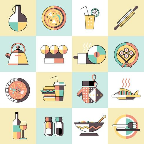 Cozinhando a linha plana de ícones de comida