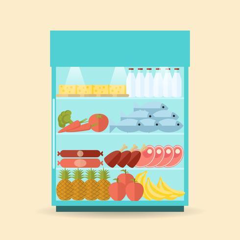 Supermarket Shelf Flat vector