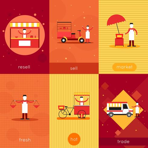 Mini cartel de comida callejera vector