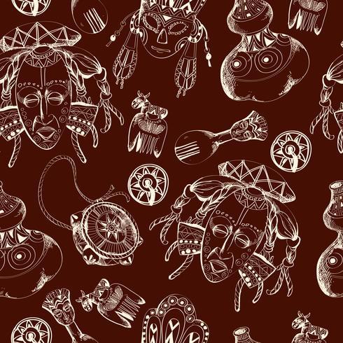 Africa sketch dark seamless pattern