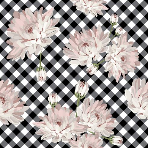 Floral seamless pattern with chrysanthemums on gingham, checked background. vector