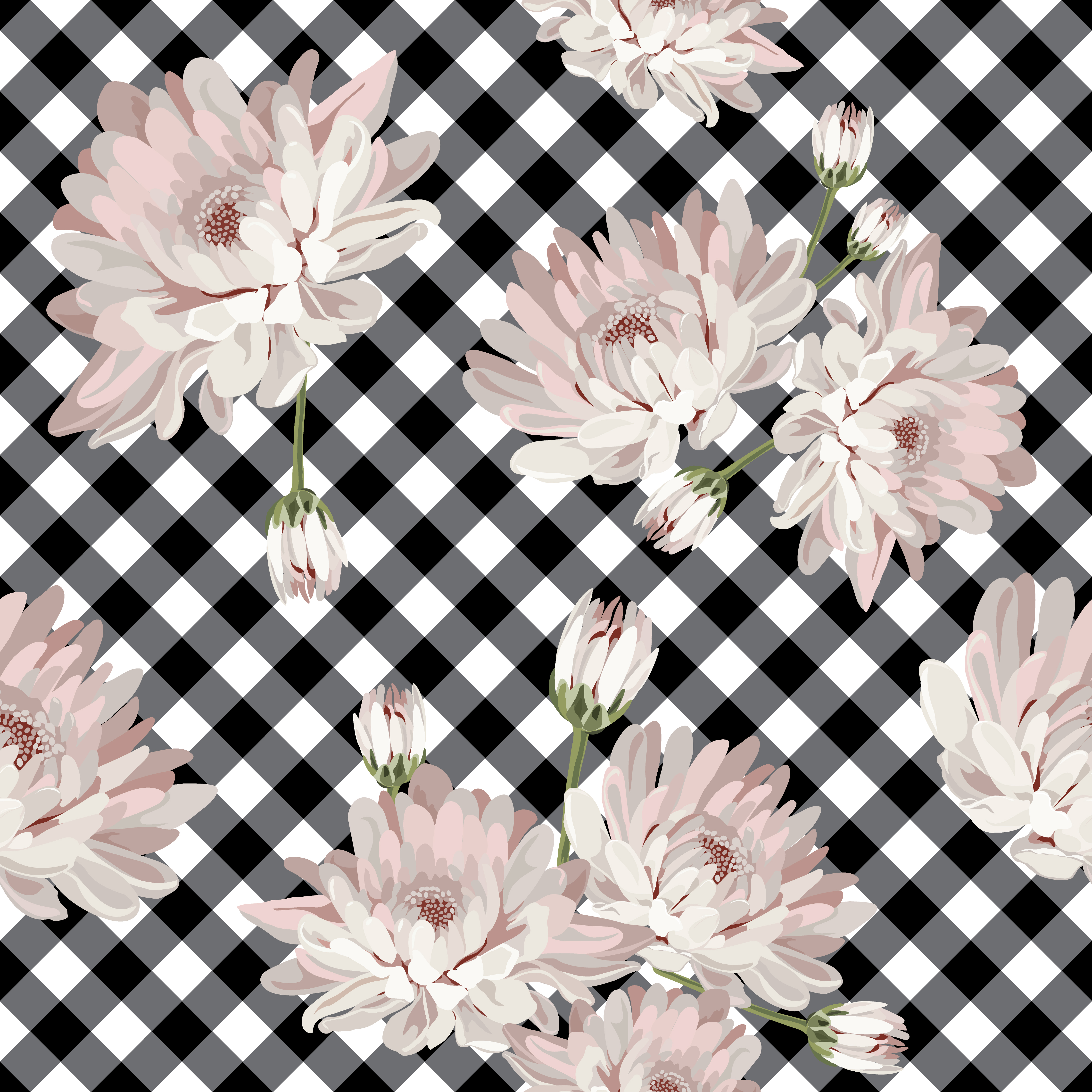 Floral Pattern With Chrysanthemums On Gingham, Checked