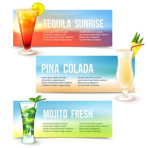 cocktails banner set vektor
