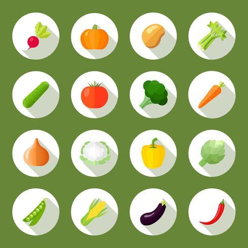Ensemble plat d'icônes de légumes vecteur