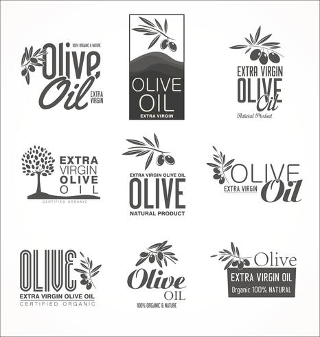 Colección de fondo dorado vintage retro de aceite de oliva vector