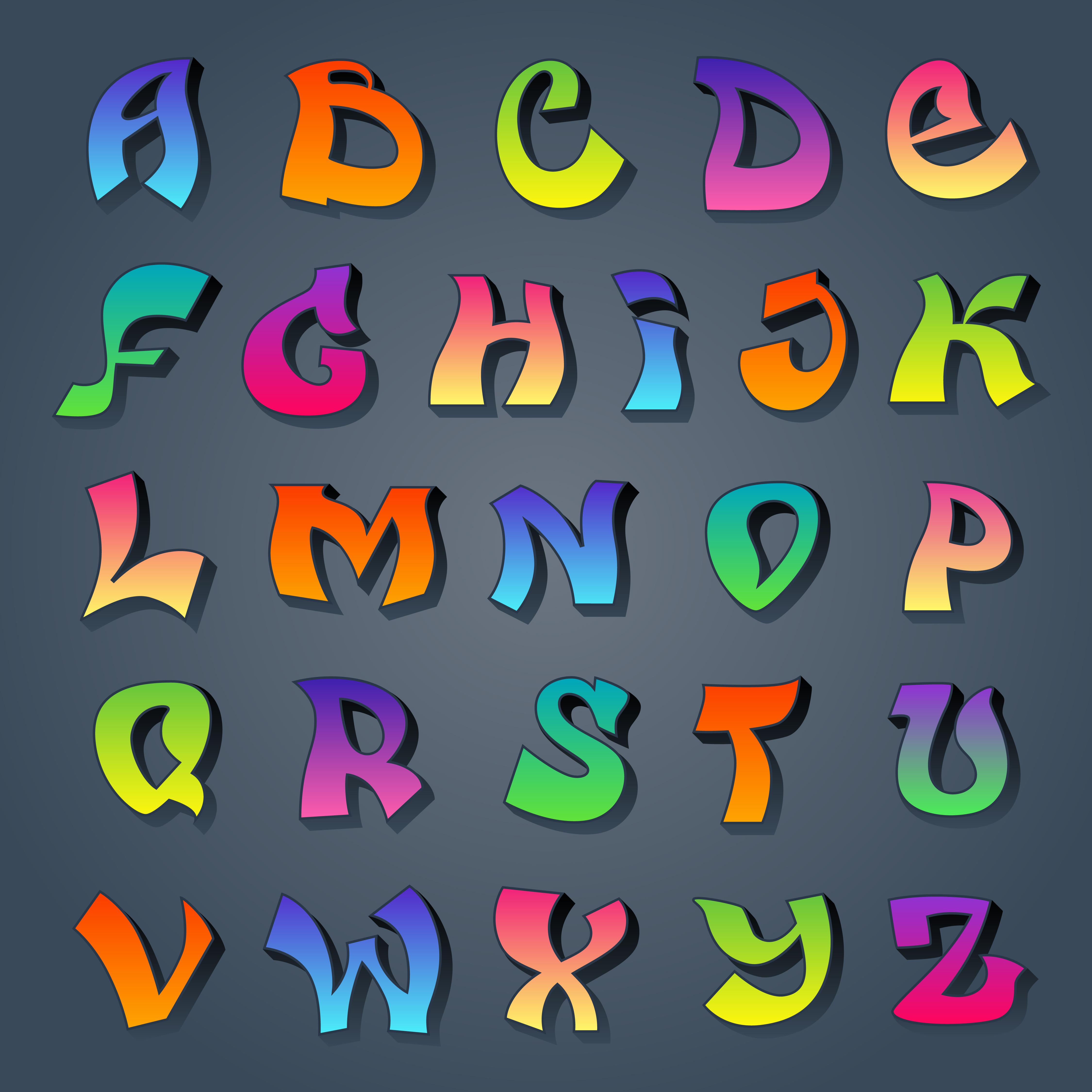Graffiti alphabet colored - Download Free Vectors, Clipart ...