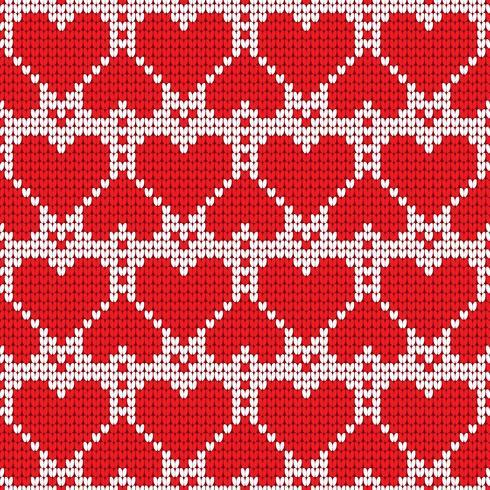 Dia dos namorados amor coração de malha sem costura padrão. Texturas nas cores vermelhas e brancas. Ilustração vetorial